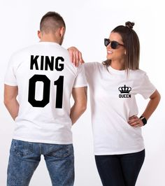 King and Queen shirts with Crowns King 01 Queen 01 Couples T-shirt King Queen shirts cotton Tee UNISEX Price per item - Together Since Shirts - Ideas of Together Since Shirts - T Shirt King Queen, King Shirt, Mrs Shirt, Matching Couples, Matching Shirts, T Shirt Designs, Couple Outfits, Short Outfits, Family Outfits