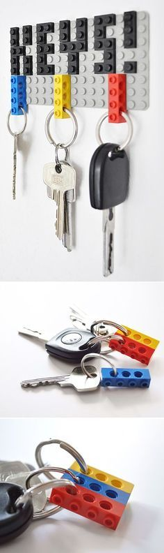 Another Great Minimalistic Lego Key Hanger. This is the best idea for Lego ever! Lego Projects, Projects To Try, Deco Lego, Deco Originale, Ideias Diy, Lego Creations, E Design, Diy Home Decor, Diy And Crafts