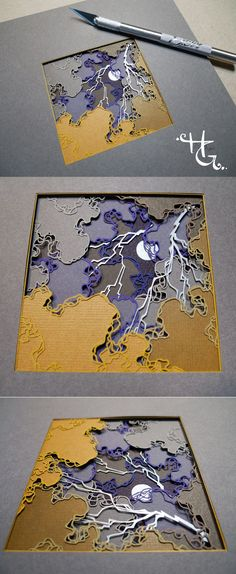 This stunning papercut art is by Hazel Glass! I've never thought about an assignment along this idea.Could work on a simpler level for advanced art students! #teachingart #cutpaper #papercraft #xacto #layeredpaper