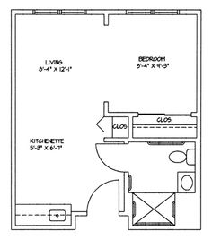 Studio apartment layout, big enough for one