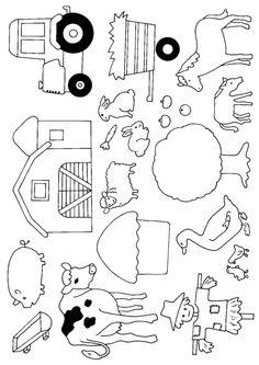 Illustration de tout ce qu'on peut rencontrer dans une ferme à la campagne , à colorier