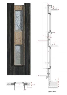 presentation of detail Window detail - Open Air Theatre - image: Haworth Tompkins - Architizer Coupes Architecture, Detail Architecture, Architecture Graphics, Architecture Portfolio, Architecture Drawings, Interior Architecture, Classical Architecture, School Architecture, Contemporary Architecture