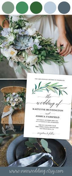 DIY printable greenery wedding invitation. #eucalyptus #greenery #wedding #invitation #invitations #printable #diy #vinewedding