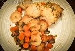 Crock Pot Chicken on a bed of roasted root veggies. Yummy! Added extra spices.