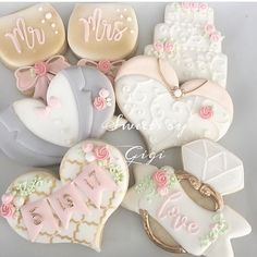 """1,511 Likes, 15 Comments - Lynda Correa (@storybook_bliss) on Instagram: """"Absolutely gorgeous!! The perfect Mr. & Mrs. wedding cookies! By @sweetsbygigi #cookies #wedding…"""""""