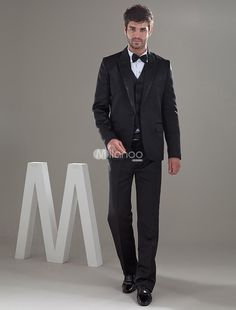 Black One Single Button Worsted Groom Wedding Tuxedo. The jacket has only one single button details,and the matching pants have zip fly with hook-and-bar closure. Tuxedo Wedding, Wedding Groom, Fall Wedding, Wedding Tuxedos, Wedding Ideas, Groom And Groomsmen, Groom Suits, Suit Jacket, Ring Bearer