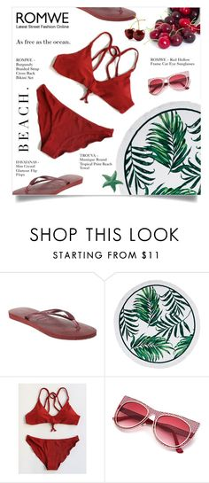 """""""ROMWE"""" by larissa-takahassi ❤ liked on Polyvore featuring Havaianas"""