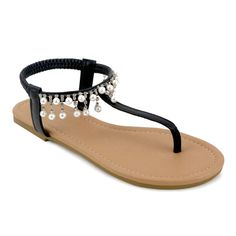 OM Olivia Miller 'Parisa' / White Synthetic Pearl Sandals, Women's
