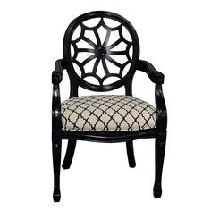 Crestview Wingate Black Pattern Spiderback Chairs CVFZR1798