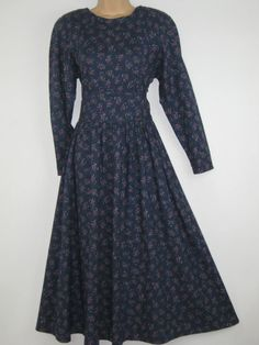 LAURA ASHLEY VINTAGE ENGLISH VIOLET BLOSSOMS ALL-SEASONS DAY DRESS,10 (Label 12) #LAURAASHLEY #ALLSEASONSCASUALCOUNTRYDAYDRESS #Casual