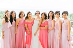 Pink Ombre Bridesmaid Gowns | Photo: Love Train Studios
