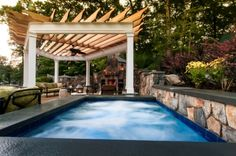 Plush Pergola, poolscape and fireplace