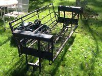 "Vintage 78"" Long Metal Porch / Yard Glider W / Cushions - Good - Needs Restored"