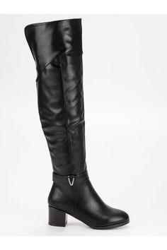 Čierne čižmy nad koleno Groto Gogo Riding Boots, Heeled Boots, Platform, Heels, Fashion, High Heeled Boots, Wedge, Moda, La Mode