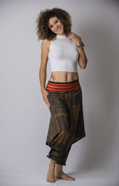 Thai Hill Tribe Fabric Unisex Harem Pants with Ankle Straps in Charcoal Gold