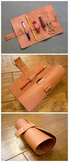 Roll Up Leather Pencil Case by esmeralda