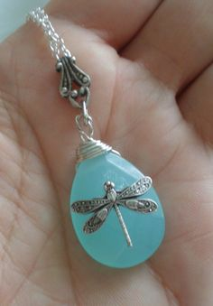 oO A FLEUR D'EAU Oo aqua briolette necklace by fleurbleue on Etsy