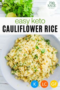 One of the most easiest recipe for keto dishes is cauliflower rice It is super simple to make, yet so versatile it has so many uses in low carb meals #cauliflowerrecipes #easyrecipes #onthetable #easyketo #sidedish #healthyricerecipes Healthy Rice Recipes, Best Low Carb Recipes, Low Carb Chicken Recipes, Delicious Recipes, Ketogenic Recipes, Keto Recipes, Dinner Recipes, Low Carb Pizza, Low Carb Lunch