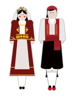 illustrations based on the traditional garments of Greece.Goal of the project is to present each regional costume in a modern way using basic shapes but close to the originals forms, colors and patterns. Greek Art, Basic Shapes, Kids And Parenting, Art Projects, Greece, Regional, Victorian, Goal, Costumes