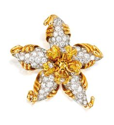 An 18 Karat Gold, Platinum and Diamond Brooch, Schlumberger for Tiffany & Co., France, Circa 1960
