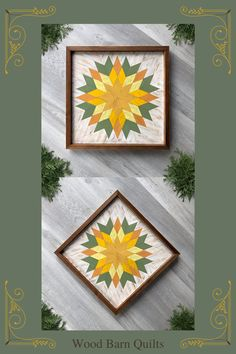 Colorful wood barn quilt featuring a busting star quilt block pattern in warm yellow and green colors. This handmade wooden wall hanging would look lovely complimenting a rustic style entryway, country farmhouse living room, or log cabin bedroom. It is handcrafted with premium cedar wood and each small wood piece of the geometric design is hand painted and lightly distressed to give it a rustic charm and vintage look. Visit Crow Bar D'signs for more rustic style wall decor ideas.