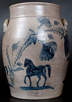 Important Virginia Stoneware Crock with Horses Trots to $92,000 | Maine Antique Digest