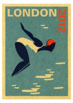 London 2012 Olympic diver A3 giclee poster print by sugarushuk, $48,00