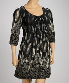 Take a look at this Charcoal Leopard Feather Shirred Empire-Waist Dress - Plus by Ice Silk on #zulily today!
