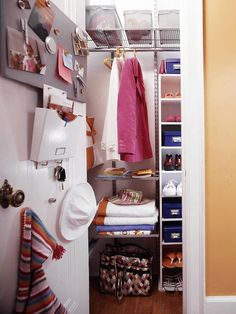 Don't ignore the closet door--or the wall. Put both to work with a bulletin board for family notes and reminders, clips for photos and invitations, bins for stashing bills to mail, and hooks for keys. Choose different color bins or label similar containers to identify the contents
