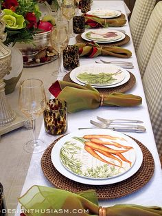 I often approach my tablescapes the way one would a monthly calendar, so for September I'm showing 7 ways to bring early Fall to your tabletop. Fall Table Settings, Beautiful Table Settings, Place Settings, Apple Centerpieces, Easy Fall Wreaths, Decoration Table, Room Decorations, Green Table, Tabletop