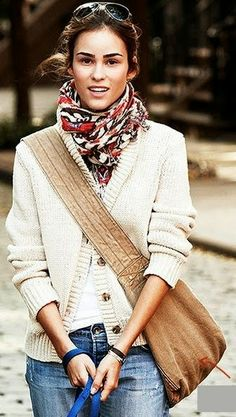 Jeans And T Shirt Neutral Chunky Cardigan Colorful-Scarf