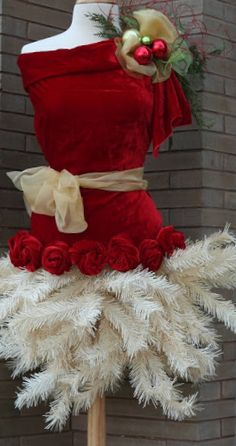 Omg....white branches Christmas tree dressed with red blouse and scarf. :-)