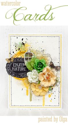 Isn't this Watercolor card by Olga so pretty? Go to @primamarketing  blog and check it out! ‪#‎watercolor‬ ‪#‎trends‬ ‪#‎fun