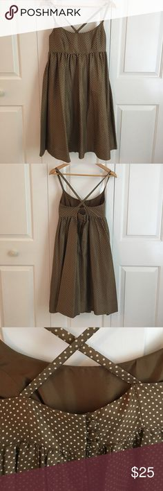 """J. Crew Silk A-line Ballerina Dress, Size 2 Gorgeous dress. Only worn to a wedding or two. Brown with cream polka dots. Fully lined. Zips up the back with a button closure. Has pockets. Style 88848. 26"""" from fitted waist to hem. J. Crew Dresses Midi"""