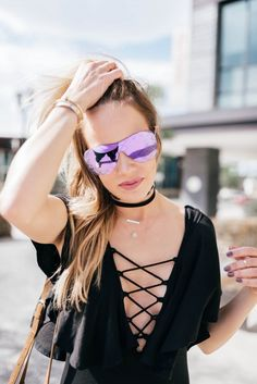 Purple Chanel Quilted Shield Sunglasses 2016 and Lace Up Bodysuit by De Lacy