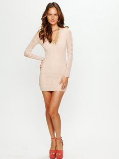 Nightcap Deep V Long Sleeve Lace Dress
