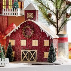 Handcrafted paperboard building with a heavy glitter finish and sisal trees. Uses 3 AAA batterie.Decorate Now, Pay Later with Country Door Credit! Christmas Town, Christmas Crafts, Christmas Decorations, Christmas Ideas, Rudolph Christmas, Christmas Villages, House Decorations, Christmas Paper, Vintage Christmas