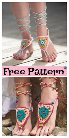 70ba12079 10 Most Unique Crochet Barefoot Sandals - Free Patterns