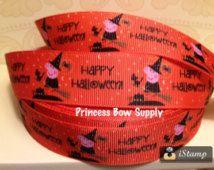 """1"""" arc de Peppa Pig Happy Halloween orange gros-grain ruban cheveux cousus craft approvisionnement BTY anniversaire partie scrapbook fille bébé bambin retournent à l'école"""