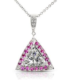 Pink Sapphire and Diamond Pendant 1 12 Carat (ctw) in 14k White Gold