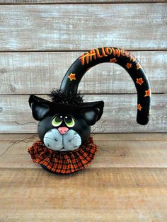 Hand Painted Halloween Cat Doll Gourd