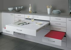 Pull-out Table and Seating: Kitchen Drawer Design