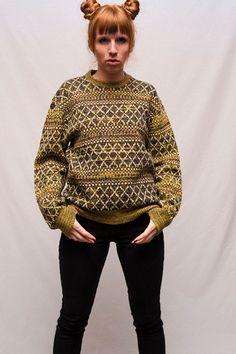 Vintage Mustard Multi Colored Fairisle Sweater
