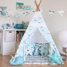 Kids Teepee Tent with 4 Poles and Floor Mat,Play Tent,Kids Teepee Kids Tents, Teepee Kids, Teepees, Canvas Teepee, Childrens Teepee, Teepee Play Tent, Baby Room Art, Playroom Decor, Home Decor Shops
