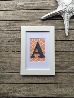 Custom letter frame wooden letter initial by RaphasRoom on Etsy Framed Wooden Letters, Initial Wall Art, Personalised Gifts, Monogram Gifts, Monogram Initials, Gifts For Office, Nursery Decor, Wedding Gifts, Promotion