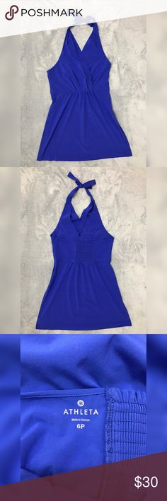 Athleta Blue Halter Dress Item: Athleta Women's Blue Pack Everywhere Dress  Size: 6 P Refer to measurements below for accurate fit! Measured flat:   15  inches Pit to pit 22 inches from back to the end of Dress  Gently used.          Base Color:  Blue Fabric: 86% recycle polyester 14% spandex Please look at photos for better descriptions  for better descriptions Athleta Dresses Backless