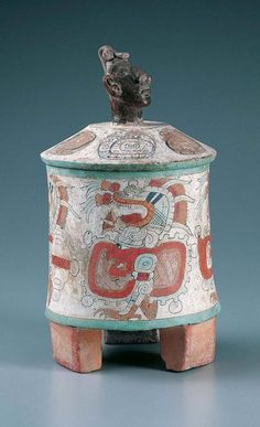 Tripod Vessel With Lid  .                                Guatemala, Maya culture        Early Classic period (A.D. 250–600)        c. A.D. 400–500        Ceramic with stucco and polychrome pigm