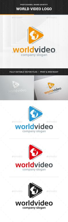 World Video Logo Template — Transparent PNG #video #world • Available here → https://graphicriver.net/item/world-video-logo-template/14454801?ref=pxcr