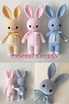 Crochet Amigurumi Bunny Pattern. So cute! I want to make these to put in Easter baskets.  #easter #ad #easterbunny #amigurumi
