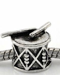 Amazon.com: Drum with Drum Sticks Musical Instruments Charm Bead Fits Pandora Troll Chamilia Biagi European Story Charm Bracelets Jewelry: J...